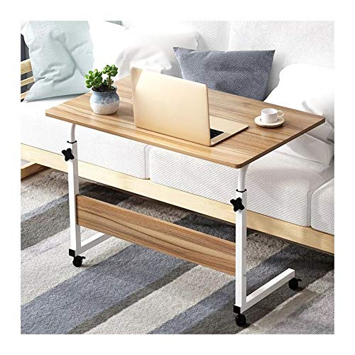 Mesa auxiliar en forma de C Ruedas Sofá Mesa Mesas,Mesa Auxiliar Mesa De Sofá Altura Regulable Soporte Laptop Con Ruedas De Bloqueo Para Oficina Hogar escritorio portátil con ruedas ( Color : Oak )