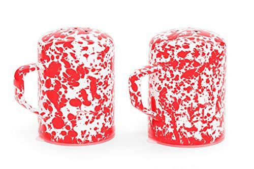Enamelware Salt and Pepper Shaker Set, 11 ounce, Red/White Splatter