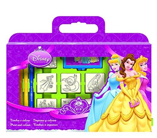 Multiprint Valigetta 7 Timbri per Bambini Disney Princess, 100% Made in Italy, Set Timbrini Bimbi Personalizzati, in Legno e Gomma Naturale, Inchiostro Lavabile Atossico, Idea Regalo, Art.07660