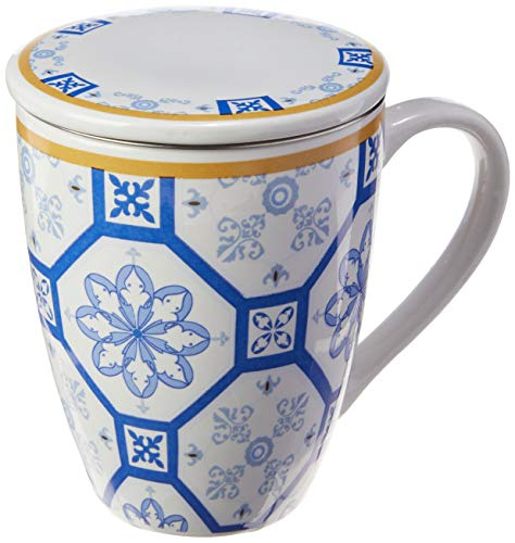 Caneca De Porcelana Super White C/tampa E Filtro Braga Azul/branca 310ml C/caixa De Presente Lyor Azul E Branco No Voltagev