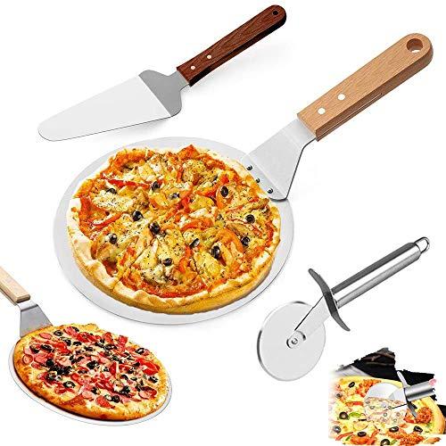 Pala per Pizza, Pizza Server, Pala per Pizza in Acciaio Inossidabile, 3 in 1 Taglia Acciaio Inossidabile Manico in Legno Pizza Server Set Pizza per Cuocere Pizza, Pane, Biscotti, Torte