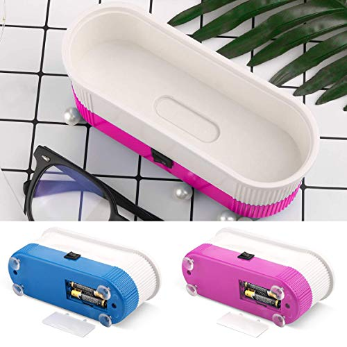 3-en-1 professionnel lentilles de contact lunettes lunettes ultrasons machine de nettoyage machine à laver lunettes boîte de verres (Color : Pink)