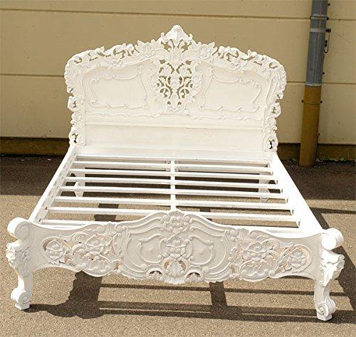 Rokoko Bett Antik-Stil Holzbett Massiv Mahagoni 160 x 200 cm weiß