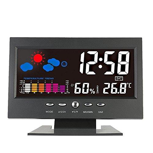 GAOHOU® Indoor Multifunktionale LCD Digital Thermometer Hygrometer Tischuhr Kalender Temperatur- und Feuchtigkeitsuhr mit Sprachsteuerung Wettervorhersagefunktion für zu Hause oder Büro