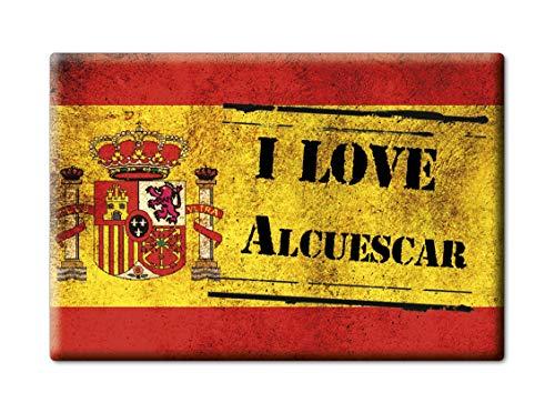 Enjoymagnets ALCUÉSCAR Souvenir IMANES DE Nevera Reino Unido Extremadura IMAN Fridge Magnet Corazon I Love (VAR. Veteran)