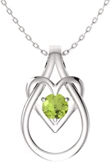 Natural and Certified Gemstone Heart Infinity Knot Necklace in 14k White Gold | 0.17 Carat Pendant with Chain