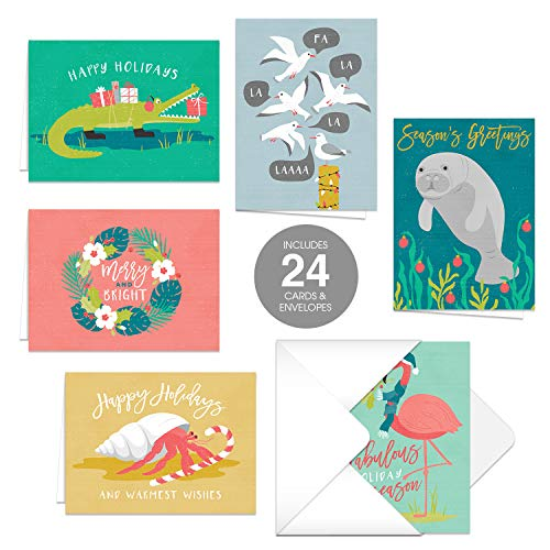 Coastal Holiday Wishes Christmas Cards / 24 Holiday Cards with Matching Envelopes / 6 Festive Tropical Animal Designs/Winter Phrases Card Assortment