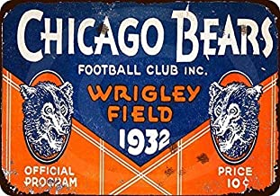 Joeaney Tin Sign New Metal Sign 1932 Chicago Bears Program Vintage Look Reproduction Sign for House, Home or Business 7.8 x 11.8 inches