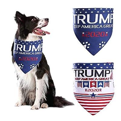 ADOGGYGO Trump 2020 American Flag Dog Bandana 4th of July Dog Bandana for Small Medium Large Dogs Cats Pets 2 Pack (Trump 2020 Keep America Great) (Style 1)