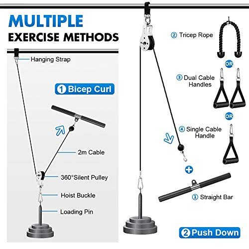 2M Cable Pulley System Gym, 3 in 1 Fitness LAT and Lift Pulley System, LAT Pulldown Bar Pulley Cable Machine Attachments for Gym Equipment Home Workout for Exercise Tricep, Biceps Curl, Back, Shoulder