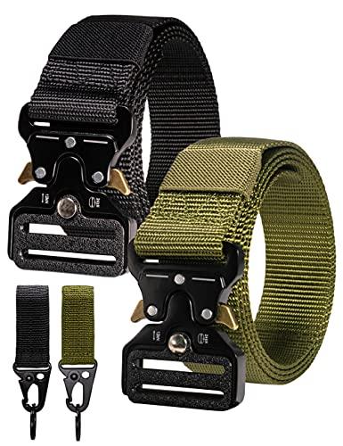 RBOCOTT Cintura Tattica, Cintura Regolabile Multifunzionale Militare Tattica, Cintura a Sgancio Rapido, Adatta per la Cintura di Sport All'aperto, Cintura di Nylon da Uomo, Nero, Verde Scuro(125CM)