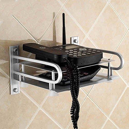 GRY Étagères doubles de mur en aluminium d'espace, parenthèse de parenthèse de boîte de dessus, accrochage de mur d'étagère de routeur,37 * 25 * 14cm
