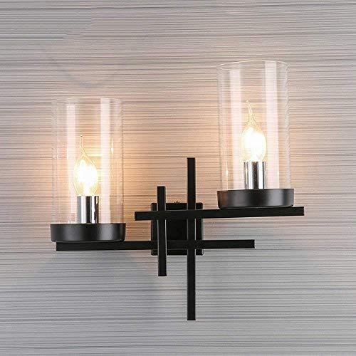 Lámpara de cabecera de vidrio estadounidense lámpara de hierro LED moderna sala de estar creativa sala de estar sala de estar dormitorio lámpara de pared lámpara de entrada de iluminación, 35x34cm)