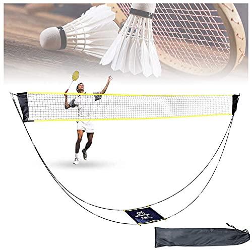 Badmintonnetz, Tragbares Volleyballnetz Tennisnetz Federballnetz mit Ständer und Tragetasche, Einfach Einzurichten, Faltbares Badminton Netz Set für Outdoor Indoor Garden Strand Sportarten