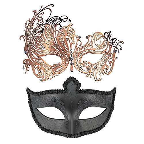 Thmyo Máscara de la Mascarada Veneciana de la Pareja, Paquete de la máscara de la Bola del Carnaval de Halloween Mardi Gras 2 (Oro Rosa + Negro 2)