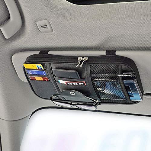 Da by Car Sun Visor Organizer Auto Interior Accessories Pocket Organizer Truck Storage Pouch Holder with Multi-Pocket Net Zipper(Black)