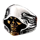 ZMY Mens Fashion Jewelry Rings, Stainless Steel Gold Face Grim Reaper Skull Ring for Men (11)
