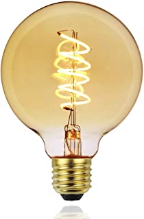 Tuneucle 1-Pack Led Dimmable Edison Bulbs 4W 110V Antique Style Light Bulbs,Warm White (Amber Gold Glass), Circular Cage Filament Vintage Light Bulb Light Fixtures,G95, E26 E27 Base (2000K-4W-1PCS)
