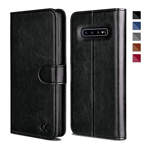 OCASE Galaxy S10 Hülle Handyhülle [Premium Leder] [Standfunktion] [Kartenfach] [Magnetverschluss] Schlanke Leder Brieftasche Hülle für Samsung Galaxy S10 Geräte Schwarz