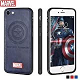 Marvel Avengers iPhone Leather Case Protective Cell Phone Case for Apple iPhone 8 / iPhone 7 Marvel Avengers Comic Super Hero Inspired Series 3D Premium Scratch-Resistant (Captain America)