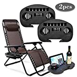 Taoup Universal Zero Gravity Chair Cup Holder, 2 Pack Large Replace Tray for Zero Gravity Lounge Chairs, Big Clip Side Table with Mobile Device Slot, Snack Tray and Water Cups (2 Pack, Black)