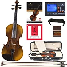Cecilio CVN-600 Hand Oil Rub Highly Flamed 1-Piece Back Solidwood Violin with D'Addario Prelude Strings, Size 4/4 (Full Size)