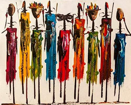 PPTRTYQ Pintar por Numeros Arte Abstracto Pintura-Africa DIY Cuadro al óleo con números para Kit de Pintura al óleo Digital para Adultos y niños de Lienzo decoración para el hogar 40x50cm Sin Marco
