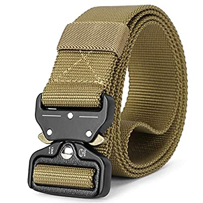 Mens Tactical Belt SANSTHS Heavy Duty Nylon Belt 1.5in Riggers Belt Military Webbing with Quick Release Metal Buckle (B-tan Brown, Suit waist 36-40in)