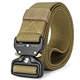 Mens Tactical Belt Heavy Duty Webbing, Military Style Army Nylon Web Belt 1.5 inch with Quick-Release Buckle, Tan Brown M