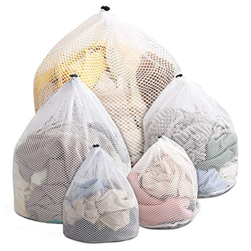 5 bolsas de malla gruesa reutilizadas para lavadora, bolsas de lavado de red duraderas para ropa delicada, medias, blusa, ropa interior, sujetador, ropa de bebé