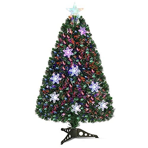 GYMAX Albero di Natale Artificiale con Forma a Fiocco di Neve, Albero di Natale con Luci in Fibra Ottica e Rami in PVC, con 85 Rami e 12 Luci a LED, Ideale per Casa, Ufficio e Negozio, Altezza 90 cm