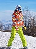 SJIUH Traje de Esquiar,Traje de esquí Mujer Invierno Espesar Ropa de esquí Niñas Impermeable Mountian Snowboard Set Correa Pantalones Chaqueta y Pantalones de Nieve Mujer, Naranja Verde, S