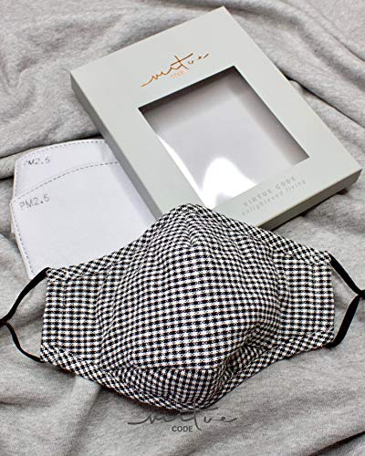 The-Solution-Mask-in-Black-White-Checks-by-VIRTUE-CODE-Fabric-Face-Masks-1-Mask-2-Filters