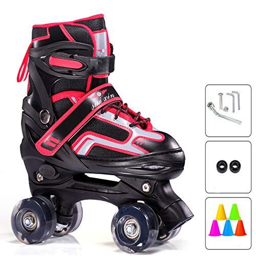 Rolschaats voor kinderen, quad rolschaatsen voor tieners, verstelbare lichtgewicht schaatsen drievoudige bescherming voor beginners, ademend comfortabel