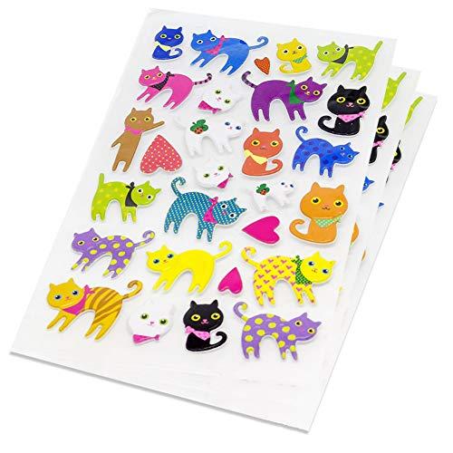 Katzen 3D Sticker Katze Aufkleber 84 Niedliche Tiere Fotoalbum Scrapbooking Tagebuch Notizbuch Kalender Basteln DIY Handlettering