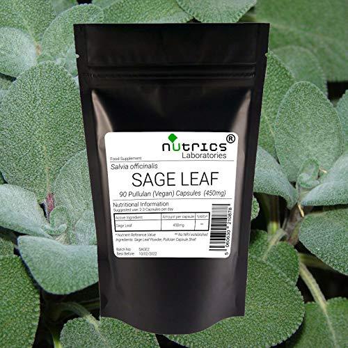 Nutrics 100% Pure 400mg SAGE Leaf 180 Vegan Capsules(2 Month Supply) |Made in The UK by Nutrics Laboratories |Suitable for Vegan Vegetarian Halal Kosher