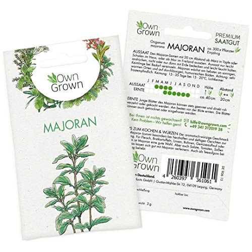 OwnGrown Premium Majoran Samen (Origanum majorana), Majoransamen einjährig, Saatgut für rund 300 Majoran Pflanzen