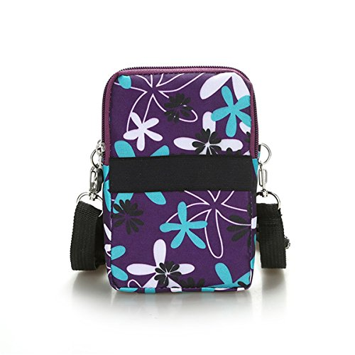 Multifunction Travel Phone Pouch Portable 3 Layers Zipper Closure Waterproof Nylon Wristlet Bag Clutch Handbag Purse Cash Keys Smartphone pouch Holder (Black)