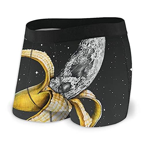 Boxer da uomo Comfort Intimo Classico Stretch Sport Trunks cool breve mutande, Luna Nascondere Nel Banana Nero, XL