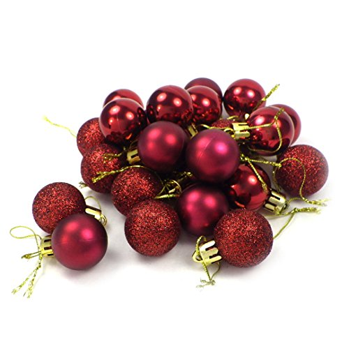 kleine Minni Dekokugeln Weihnachten Weihnachtskugeln Kugeln matt glänzend glitzernd 24 Stück 3,3cm weinrot rot dunkelrot Bordeaux
