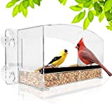 Nature Gear Crystal View Window Bird Feeder - Dome Roof & Steel Perch -...