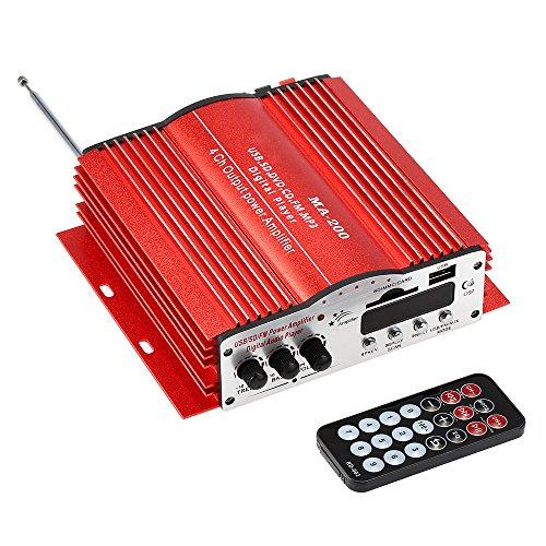 KKmoon MA200 4 kanalen HiFi Audio versterker Stereo Subwoofer Auto MP3 luidspreker USB SD FM