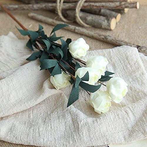 YGXR Living room tabletop artificial flower plants, 1 bunch of 6 head flower roses, artificial PE artificial flower roses, floral wedding bouquet, bridal hydrangea decoration