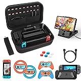HEYSTOP Kit de Accesorios 12 en 1 para Nintendo Switch, con Funda de Transporte, TPU Cubierta Protectora, Joy-con Grip y Volante, Soporte,Protector de Pantalla, Apretones de Pulgar, Cable USB (Negro)