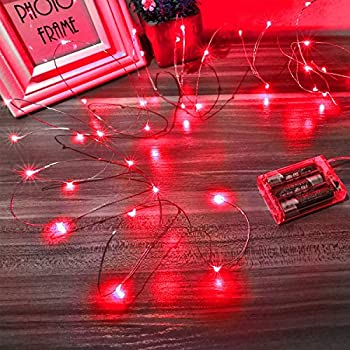 Ariceleo Led Fairy Lights Battery Operated 1 Pack Mini Battery Powered Copper Wire Starry Fairy Lights for Bedroom Christmas Parties Wedding Centerpiece Decoration  5m/16ft Red