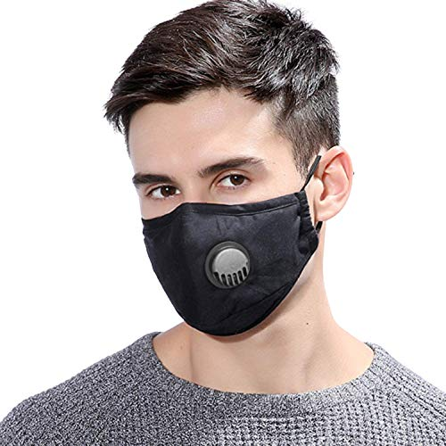 Face Mask With Breathing Valve Washable Reusable Mask, Unisex Black Cotton Protective Mouth Cover PM2.5 Carbon Filter (2 Mask 4 Filters)