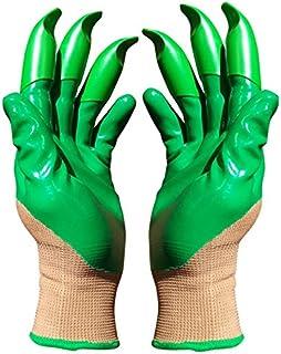 Honey Badger Garden Gloves For Digging & Planting No More Worn Out Fingertips Unisex Claws On Both Hands Olive Green & Gra...