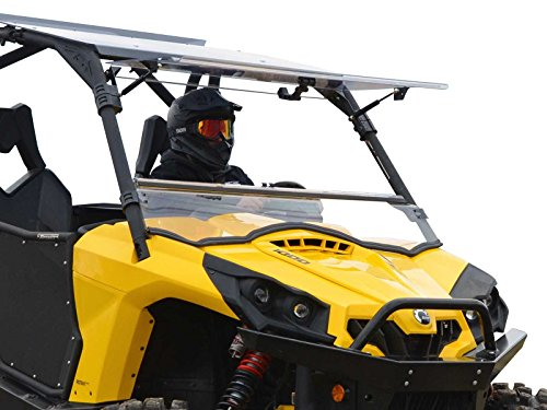 SuperATV Scratch Resistant 3-in-1 Flip Windshield for 2011-2020 Can-Am Commander 800/1000 / Max | 1/4'Thick Polycarbonate 250X Stronger than Glass | USA Made | Can be set to Open, Vented, or Closed!