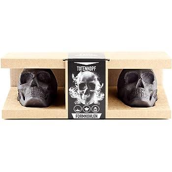 Formkohlen Totenkopf 3er Geschenkbox | Perfektes Grill Geschenk für Männer, Topping für den Grill, Mitbringsel zum Grillen, Gothic Deko, Halloween Deko, Totenkopf Deko