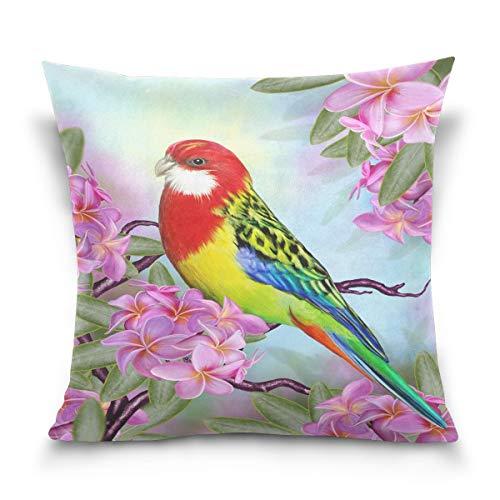 45x45cm Funda Throw Pillow Case Almohada Cojín Flor pájaro Loro Fundas colchón Cojines Decorativa Cuadrado sofá